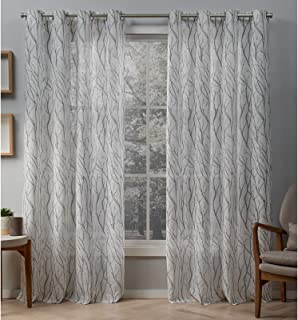 Exclusive Home Curtains Oakdale Sheer Textured Linen Grommet Top Curtain Panel Pair, 54x96, Dove Grey, 2 Count