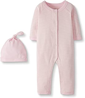 Moon and Back by Hanna Andersson Baby Snap Front One Piece Coverall with Cap Set