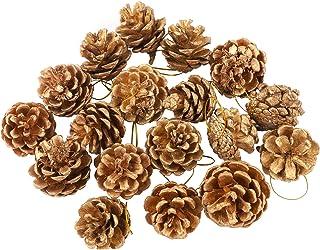 18 piezas de adornos de conos de pino de Navidad árbol de Navidad Cono de pino natural con colgante de cuerda 3 colores do...