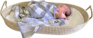 Baby Changing Basket Seagrass Handmade - with Gift Wrapping and Soft Cotton Changing Pad, Portable Diaper Caddy for Nursery Changing Table and Storage