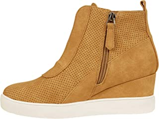 6bf5e77dab Enjoybuy Womens High Top Hidden High Heel Wedge Sneakers Casual Zip Up  Ankle Booties