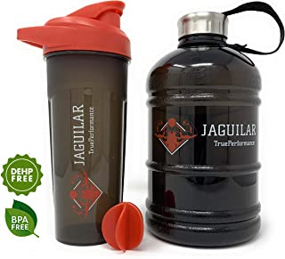 Half Gallon Water Bottle 64oz + 24oz Protein Shaker Bottle & Mixing Ball For Indoor/Outdoor Workouts, BPA & DEHP Free, Leak and Spill Proof, Sports Bottle, Large Jug 1.89L, For Gym Hiking Bodybuilding