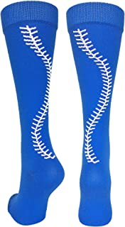 Softball Socks with Stitches Over The Calf (Multiple Colors)