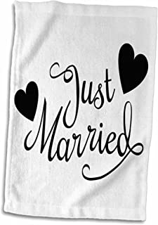 """3D Rose Just Married. White and Black. twl_194330_1 Towel, 15"""" x 22"""", Multicolor"""