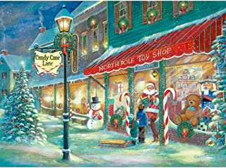 Bits and Pieces - 1000 Piece Glow in The Dark Puzzle for Adults - Candy Cane Lane, Christmas Candy, Holiday - by Artist Ruane Manning - 1000 pc Jigsaw
