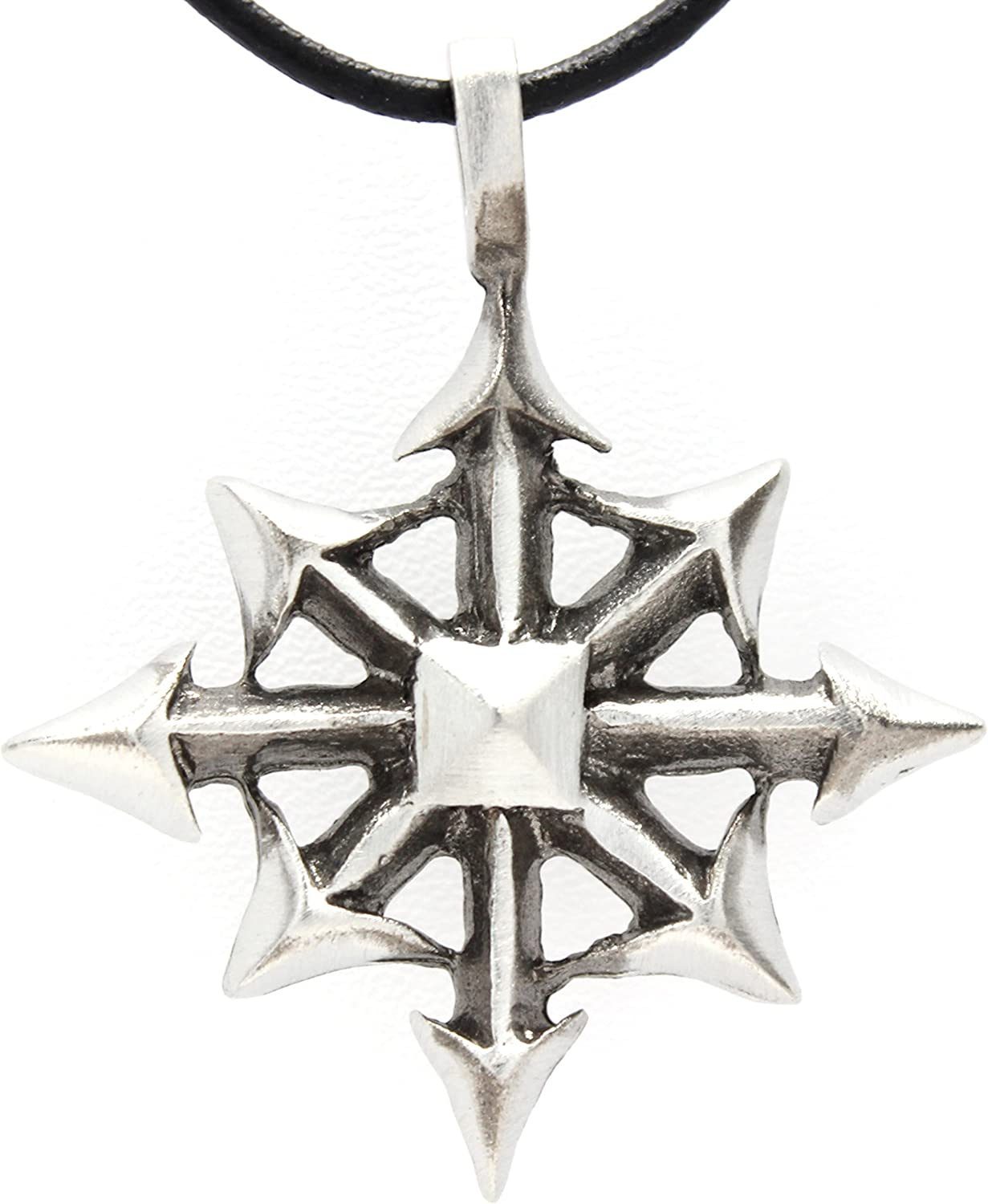 Trilogy Jewelry Pewter Chaos Star Magic Pendant on Leather Necklace