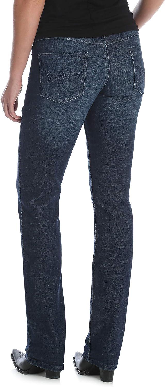 Wrangler Women's Western Mid Rise Stretch Straight Leg Jean, Dark Stone, 15W x 34L