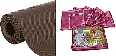Kuber Industries Multipurpose Textured Super Strong Anti-Slip Mat Liner - Size 45X150Cm (1.5 Meter Roll, White) - CTKTC022135 & 6 Piece Satin Saree Cover, Pink (Ki8052) Combo