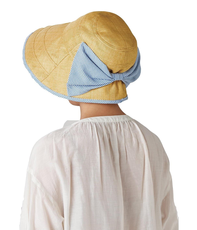 マラドロイトクルーズどっちセルヴァン 大きなリボンのつば広日よけ帽子 ベージュ