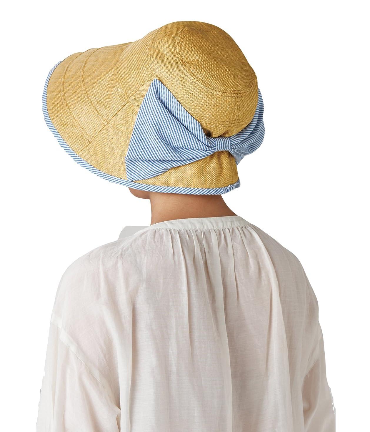 債務者明示的にたとえセルヴァン 大きなリボンのつば広日よけ帽子 ベージュ
