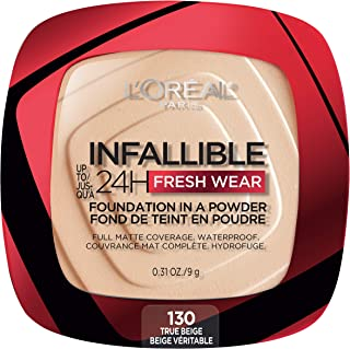 L'Oreal Paris Infallible Fresh Wear Foundation به صورت پودر ، تا 24 ساعت پوشیدن ، بژ واقعی ، 0.31 اونس.