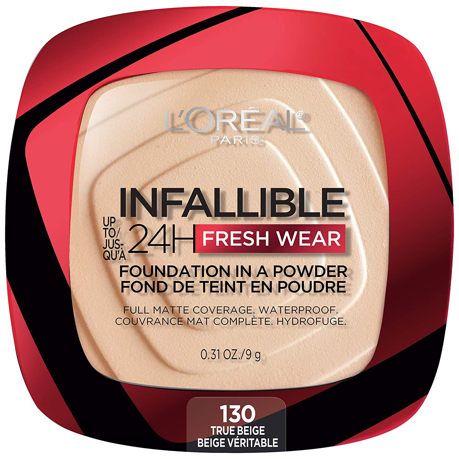 L'Oreal Paris Infallible Fresh Wear Foundation in a Powder, Up to 24H Wear, True Beige, 0.31 oz. : Everything Else