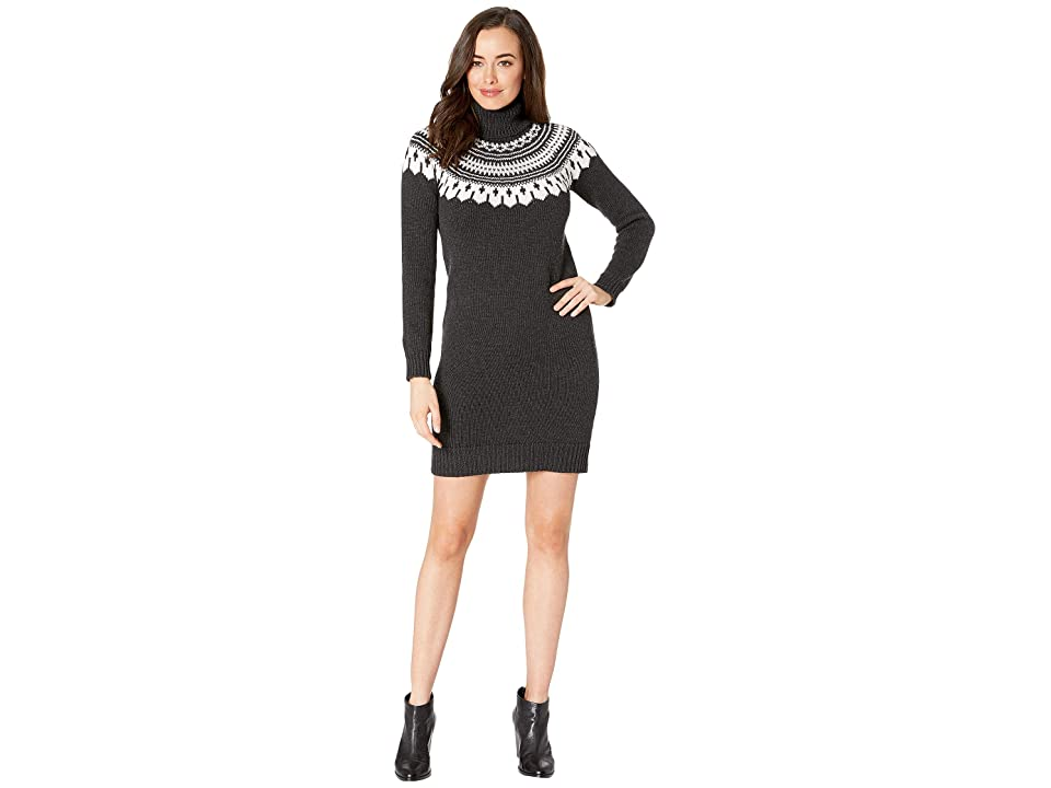 LAUREN Ralph Lauren Fair Isle Turtleneck Dress (Charcoal/Mascarpone Cream Multi) Women