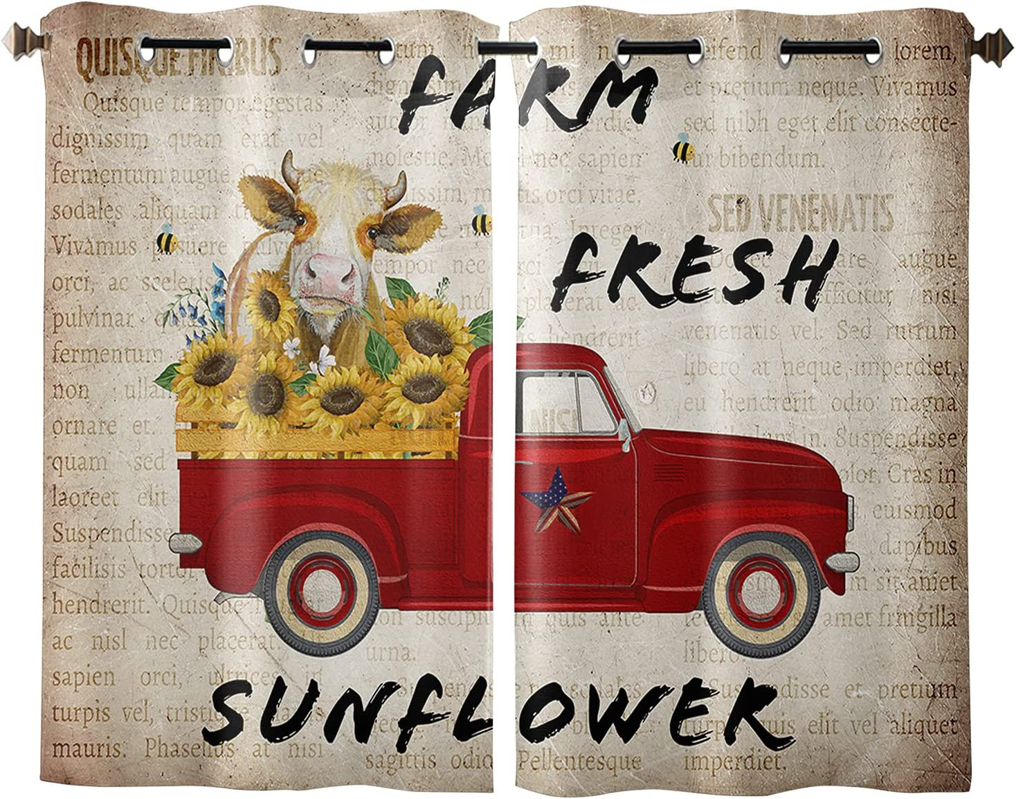 Window Chicago Mall Curtains Red Farm Truck Cow Priv Fence Austin Mall Harvest Sunflower