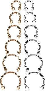 ORAZIO 12Pcs 14-16G Stainless Steel Nose Rings Septum Piercing Cartilage Horseshoe Earring Body Piercing 6MM-16MM
