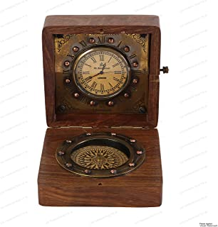US HANDICRAFTS Authentic Clock Compass in Rose Wood Box, Vintage Gift…