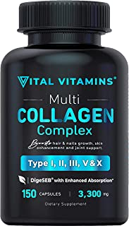 Multi Collagen Pills (Types I,II,III,V,X) 150 Capsules 3300 mg Grass Fed Collagen Peptides Enhanced Absorption for Anti-Ag...