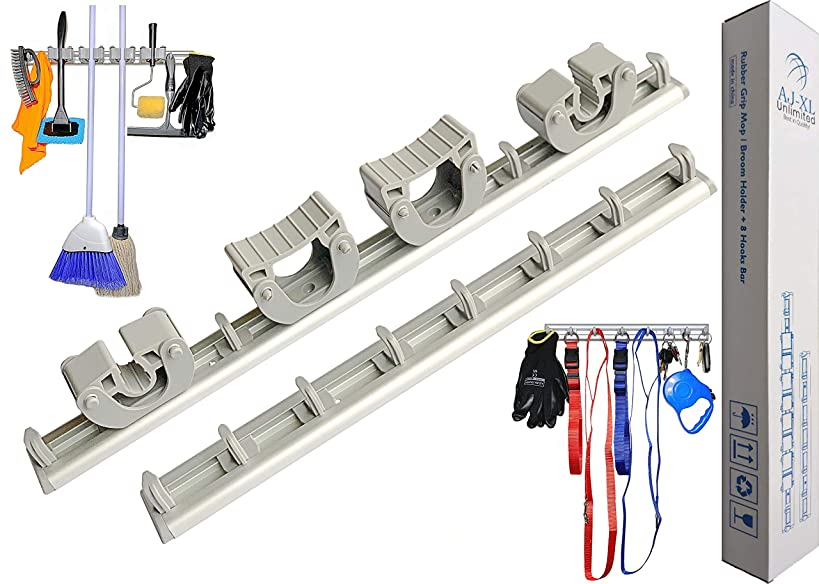 Mop and Broom Holder Wall Mount with 2 Aluminum Racks + 4 Grippers + 12 Utility Hooks for Laundry Room, Kitchen & Storage Organizer. Tools Hanger, Cleaning Gears Hook Rack & Garden Tool Organization.