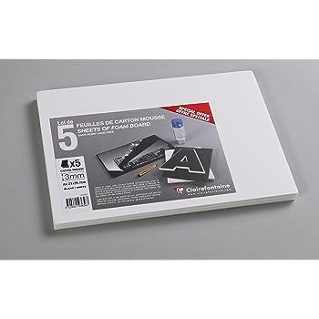 WONDAY Lot de 5 Plaques Carton Mousse Format A4 21 x 29,7 cm Epaisseur 3 mm Blanc