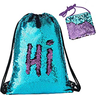 Phogary Sequin Drawstring Backpack with Purse, Reversible Parent-child Mermaid Bag for Sport Outdoor Travel Beach Hiking