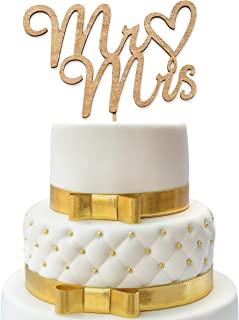 Mr and Mrs Cake Topper - Wedding Cake Toppers - Wedding Cake Topper - Confetti Wedding - Cake Topper Wedding Gold - Wedding Decorations - Wood Topper - Cake Toppers - Wedding Crafts