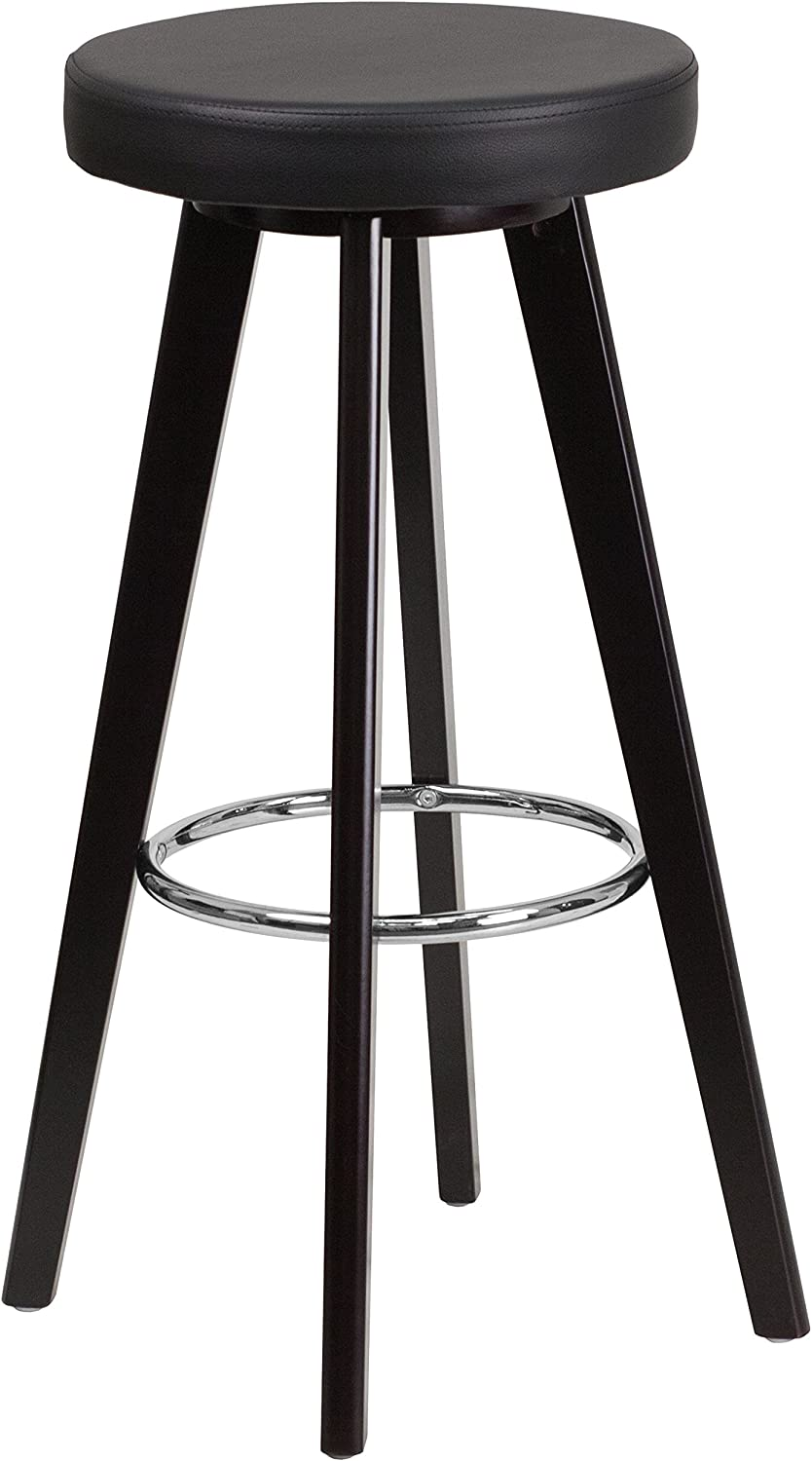 Flash Furniture CH-152601-BK-VY-GG Trenton Series High Contemporary Black Vinyl Barstool with Cappuccino Wood Frame, 29