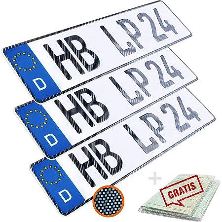 L P Car Design Kfz Kennzeichen 3 Stück 52cm X 11cm In Carbon Optik Nummernschild 520mm X 110mm Wunschkennzeichen Din Autokennzeichen Fahrradträger Anhänger Lkw Wunschprägung Amtliches Autoschild Auto
