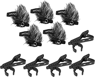 Movo MCW8 5-PACK of Lavalier Microphone Windscreen Muffs and Metal Crocodile Lapel Clips for 12mm Mic Capsules - Fits Movo LV8-C and LV8-D Broadcast Lavalier Microphones