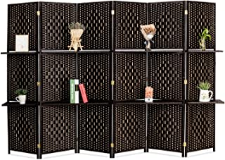 Bonnlo Upgraded Heavy Duty 6FT Tall Rattan Room Divider Screens with Partition Wall 2 Display Shelves, Indoor Folding Screen Dual-Sided Hinges for Home Office (6 Panels)