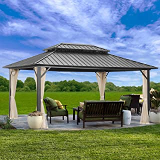 Outdoor Patio Hardtop Gazebo with Mosquito Netting,Galvanized Steel Double Roof Canopy Gazebo,Aluminum Frame for Patio,Gar...