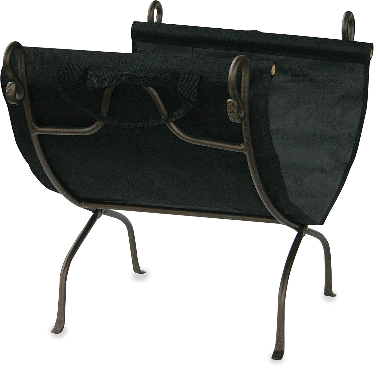 Uniflame, W-1617, Bronze Wrought Iron Log Rack with Canvas Carrier