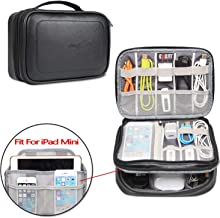 BUBM Electronic Organizer, Pu Double Layer Travel Gadget Storage Bag for Cables, Cord, USB Flash Drive, Power Bank and More-a Sleeve Pouch for 7.9