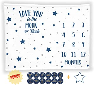 """Baby Monthly Milestone Blanket with 12 Stickers, Large 50""""x40"""" Months Boy Newborn Photography Background Photo Prop, Stars Moon Nursery, I Love You to The Moon and Back, Baby Shower (50""""x40"""", Minky)"""