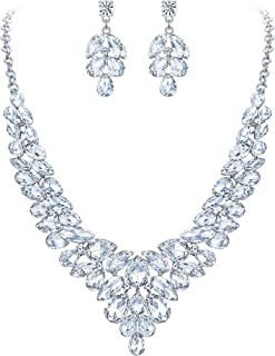 Clearine Wedding Bridal Jewelery Set for Women Crystal Teardrop Marquis Cluster Statement Necklace Dangle Earrings