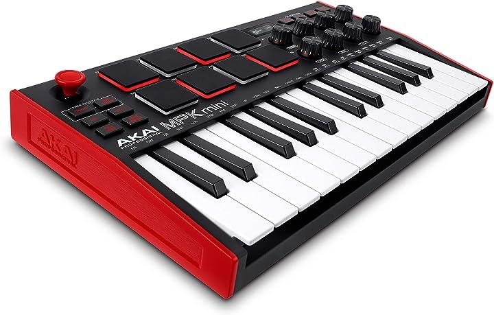 Tastiera midi controller usb a 25 note con 8 drum pad retroilluminati, 8 manopole akai professional MPKMINI3