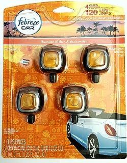 Febreze Hawaiian Aloha Car Vent Clip Air Freshener, 0.06 oz, 4 Pack