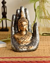 eCraftIndia Handcrafted Palm Buddha Polyresin Showpiece (12.5 cm x 7.5 cm x 17.5 cm, Silver and Golden)