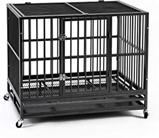 AINFOX 37/42/48inch Heavy Duty Metal Dog Crate, Large Double Door Folding Strong Dog Pet Kennel Cage Tray, Fits Large Dog Breeds