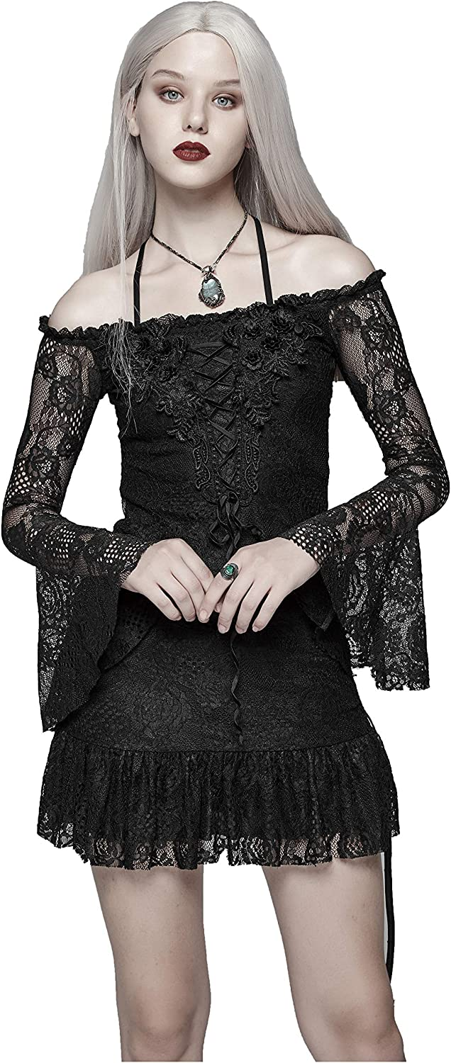 Punk Rave Women Black Gothic Vintage OffTheShoulder Lace Mini Dress Shirt Tops