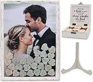 PMPX Vintage White Guest Drop Top Frame with Stand Guest Book Alternative with Wood Hearts, Matching Box with Message Inside The Lid. Weddings, Bridal or Baby Shower, Anniversary, or Special Event.
