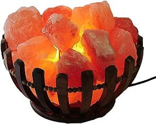 JIC Gem Basket Himalayan Salt Rock Lamp Natural Pink Salt Chunks with Bulb Dimmer Cord