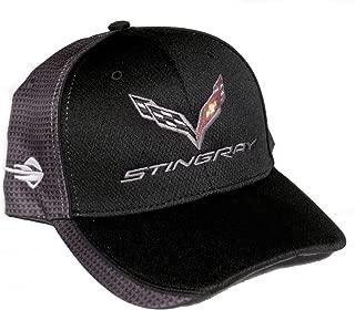 Gregs Automotive Stingray Corvette C7 Carbon Fiber Print Black/Gray Logo Hat Cap Chevrolet - Bundle with Driving Style Decal