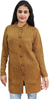 HAUTEMODA Women's Woollen Embroiderd Cardigan (Ad04Rk40_Pink)