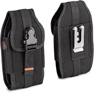 AGOZ Vertical Belt Clip Case for CAT S60, S61, S48c, S41, S40, S50, S31, DEWALT Phone MD501, Heavy Duty Rugged Canvas Holster Pouch Cover with Metal Clip, Belt Loops, Card Slot & Front Buckle Clip