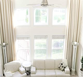 Ikiriska Extra Long Natural Linen Curtain (1 Panel) Custom Made Drape 9 10 11 12 13 16 17 18 20 24 feet Long 9 ft Wide 2 Story Long Grey White Beige Brown Free SWATCHES (Beige 16 feet)
