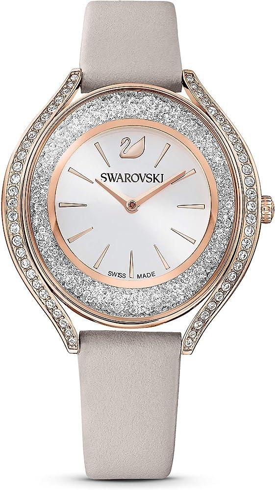 Swarovski crystalline aura orologio in oro rosa e cinturino in pelle 5519450