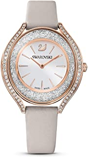 Women's Crystalline Aura Rose Gold Quartz Watch with Leather Strap, Gray, 3 (Model: 5519450)