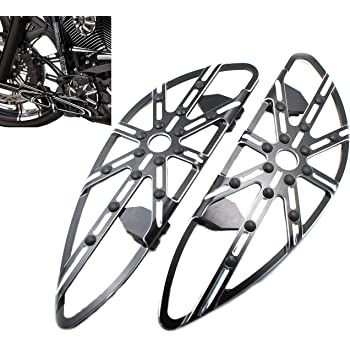 H-Ruo CNC Front Driver Floorboards Chrome Footrest Pedal for Harley Touring Softail Dyna Street Road Glide FLH