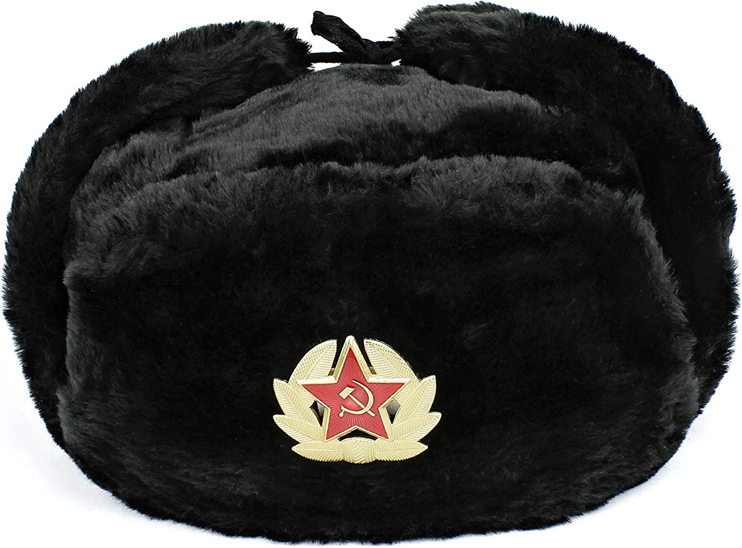 Heka Naturals Ushanka Russian Safety and trust Hat Ear Flaps with Badge Cheap mail order sales