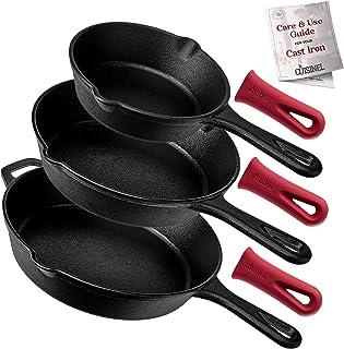 "Cuisinel Cast Iron Skillet Set - 3-Piece: 6"" + 8"" + 10""-Inch Chef Frying Pans - Pre-Seasoned Oven Safe Cookware + 3 Heat-R..."